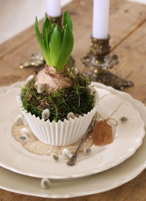 Pasen-decoratie op de lijst -hyazinth-muffinform-mos-wilgenpot  – Ostern