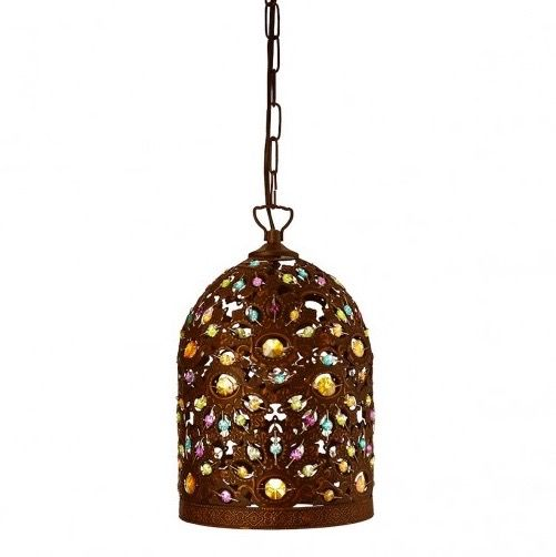 This pendant light in antique bronze has rich detailing dressed with multi-coloured beads which add a splash of colour.