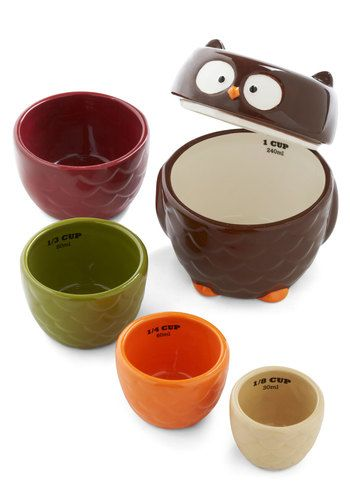 Owl Accounted For Measuring Cup Set. Are you known for hatching brilliant ideas in the kitchen? #multi #modcloth