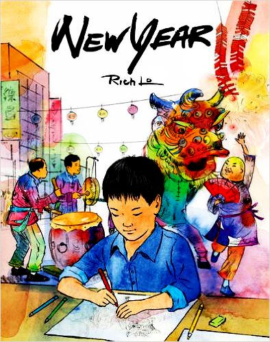 After his family moves from Hong Kong to Los Angeles, a boy begins school in America. He has a difficult time adjusting. His translator is embarrassed to have to speak her native language at school in front of her friends. The boy feels out of place and alone in his new environment, though his mother assures him that one day he will be proud of his Chinese heritage. NEW YEAR is based on author/illustrator Rich Lo's childhood experiences immigrating to America.