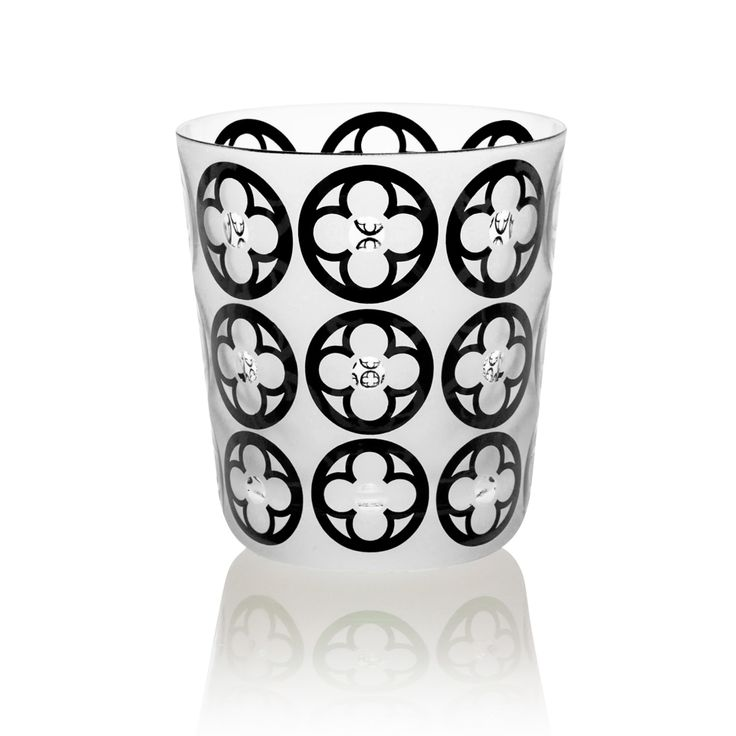 BLACK |  Handmade Glass Blown Small Tumbler, Gotika-Black 1922, height: 85 mm | top diameter: 78 mm | volume: 220 ml | Bohemian Crystal | Crystal Glass | Luxurious Glass | Hand Engraved | Original Gift for Everyone | clarescoglass.com