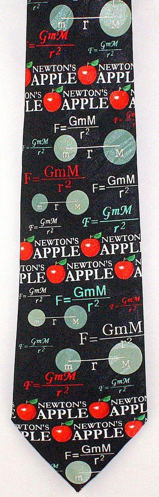 New Newtons Apple Mens Necktie Sir Issac Scientist Law Gravity Science Neck Tie #StevenHarris #NeckTie
