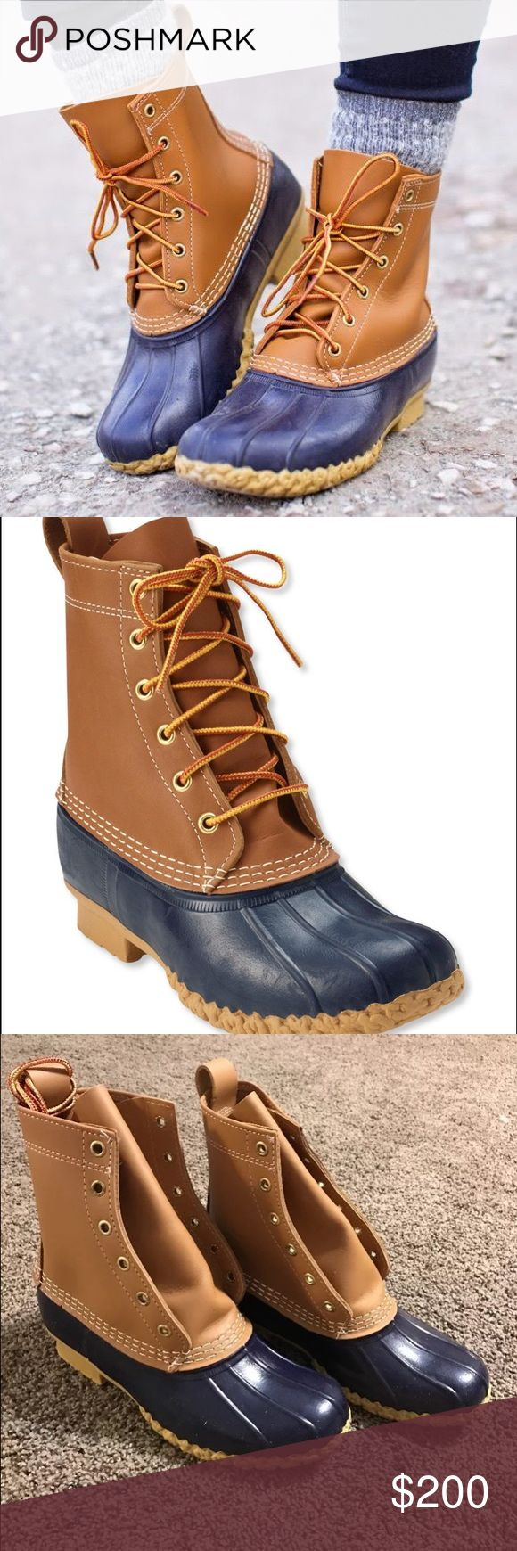 LL Bean Boots Size 7 Brand new, never worn, not even laced yet, size 7 medium, back ordered until 2017, brown leather and navy leather, perfect winter boot, water proof LL Bean Shoes Winter & Rain Boots