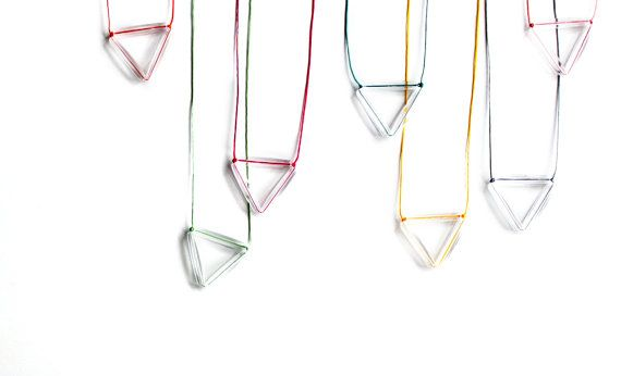 Geometric Triangle Neon Magenta PendantRainbowFaceted by zdrop, $17.00