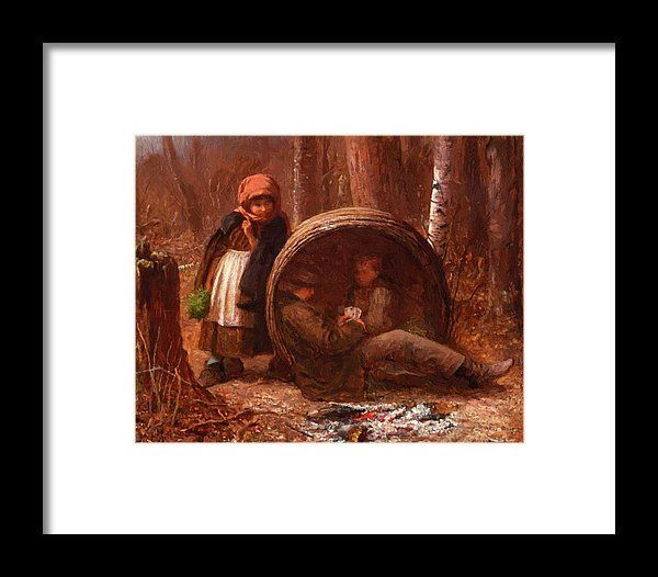 The Framed Print featuring the painting The Eavesdropper 1866 by Johnson Eastman