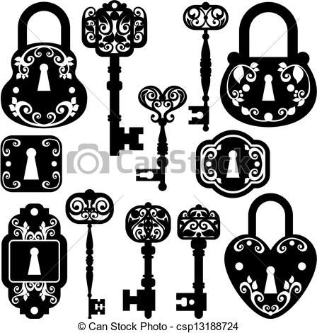 Vector - antique keys and locks - stock illustration, royalty free illustrations, stock clip art icon, stock clipart icons, logo, line art, EPS picture, pictures, graphic, graphics, drawing, drawings, vector image, artwork, EPS vector art