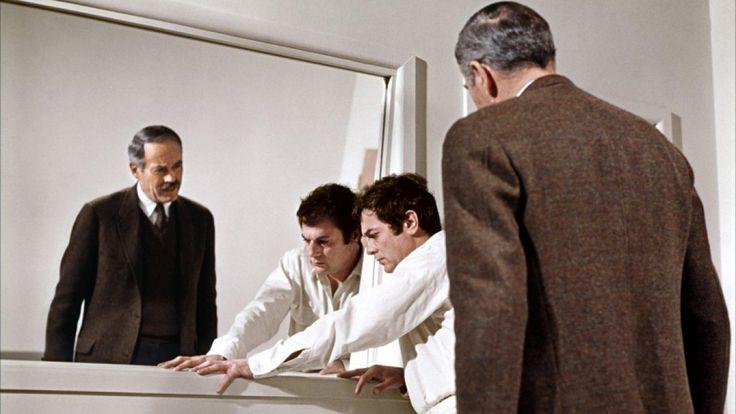 Henry Fonda as John S. Bottomly, and Tony Curtis as Albert DeSalvo [The Boston Strangler, 1968]