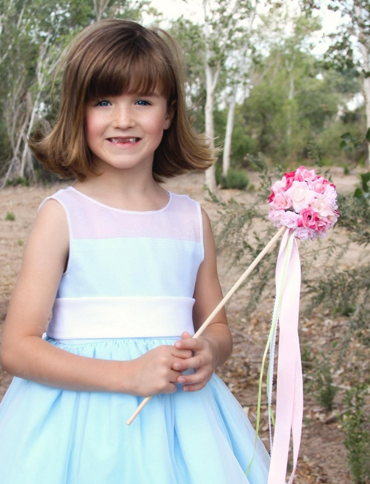 Pink rose flower girl ribbon wand small - Small tin girl ...