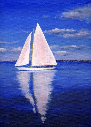 TITLE: Sunny Sailing SIZE: 9x12 Original Acrylic Painting, 3/4 deep Archival Gallery Wrapped Canvas    COLORS: Ultramarine blue sky and water. The painting is pulled together with a gentle warm pinkish glow from the morning sun on the background horizon and on the sails and water reflection. The cool and warm color combination gives this piece interest and unity. MEDIUM: The painting extends around the sides of the canvas on all four sides. This artwork comes to you ready to hang, no frame…