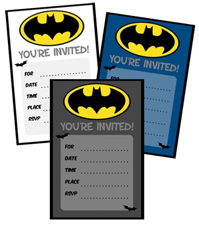 Batman Birthday Invitations to Print