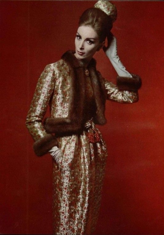 Wilhelmina in a ravishing red and gold lame cocktail dress with matching jacket trimmed in mink and pillbox by Christian Dior, L'Officiel 1962. Photo by Phillippe Pottier