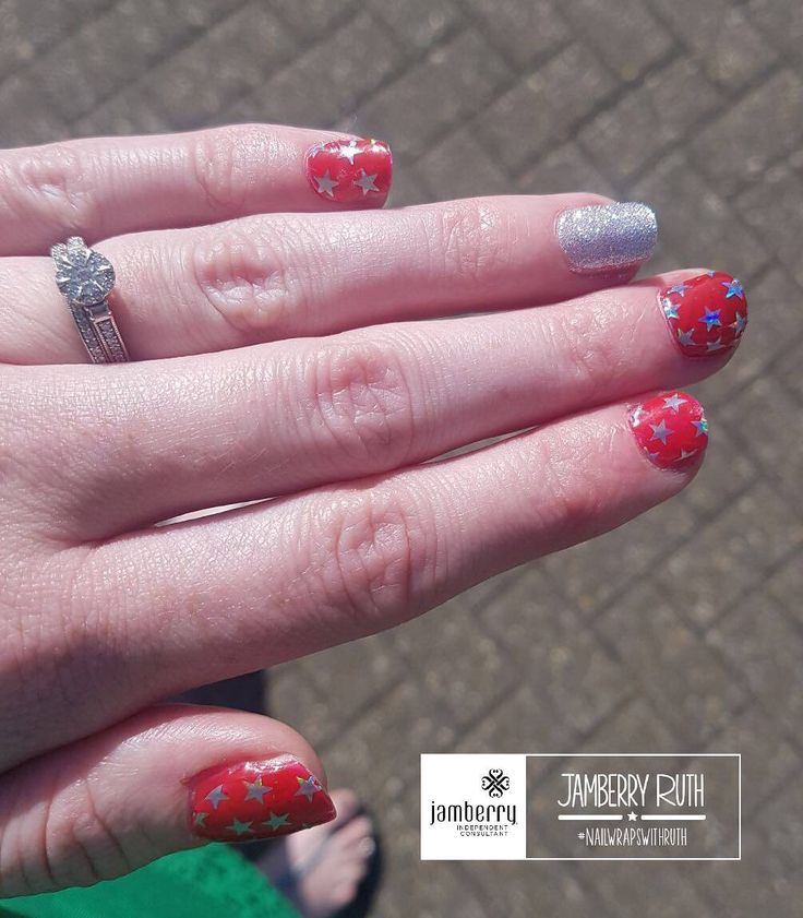 The sun is most definitely out in time for our holiday on Monday! Here's my holiday mani   #candyapplejn #indepencejn and #birthdaybashjn witwoo!  #jamberry #thinksocial #nailwrapswithruth #sparklynails #nailart #shockingred #stars #glitter
