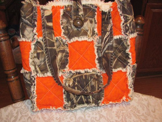 Realtree Max 4 and Hunter Orange Tote Bag Hand Bag Diaper Bag $25.00 Inspired by morethanbearscrafts