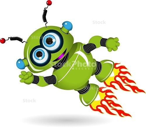 Illustration Of A Flying Green Cartoon Robot
