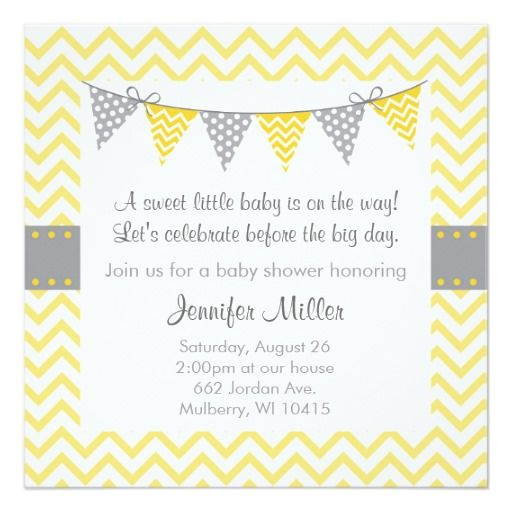 Invitations jaunes modernes de baby shower de