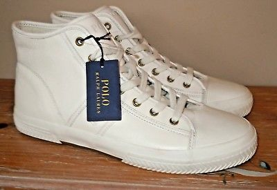 NEW MENS POLO RALPH LAUREN TREMAYNE WHITE LEATHER HI-TOP SNEAKERS SHOES 11 D $99