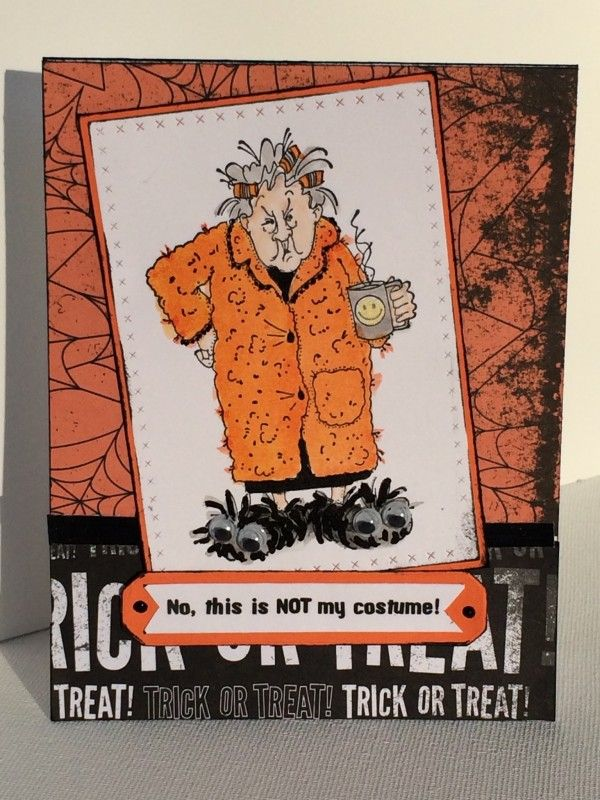 Art Impressions Rubber Stamps: Golden Oldies: Maude (Sku#I1238) Handmade card. Halloween, coffee