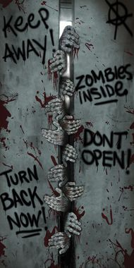"The perfect accessory for your haunted house or home display. 60"""" by 30"""" door cover with a look as if a bunch of zombies were trying to oen it wide enough to get in. Also has various graffitit-like"