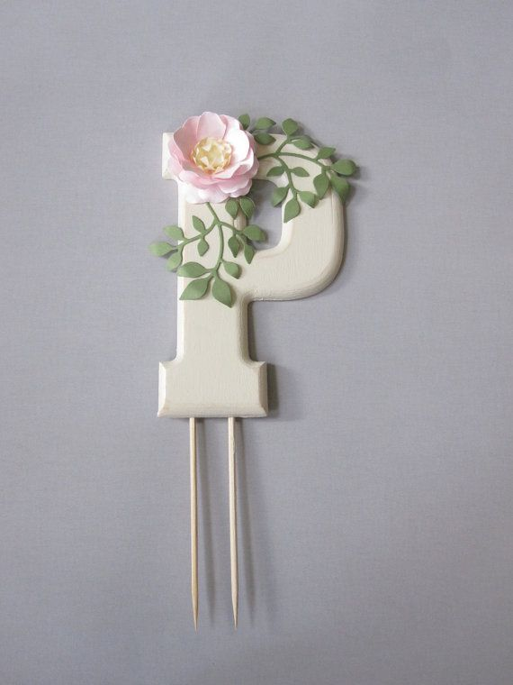 Monogram Cake Topper with Handmade Paper Flower by carrieklein A custom monogram…