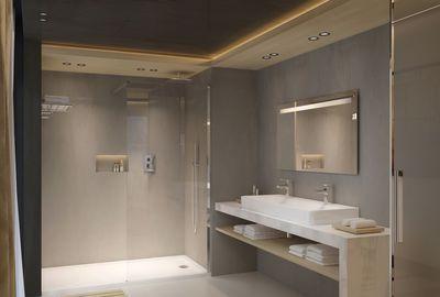 Salle de bains Vox, plans vasques en céramique et meubles finition mélaminé ou laqué : Plans-vasques : 60 x 46 cm, à partir de 280 euros, 80 x 46 cm, à partir de 330 euros, 100 x 46 cm, à partir de 390 euros, 120 x 46 cm, à partir de 520 euros, 140 x 46 cm - 2 cuves à partir de 680 euros. Commodes : L 60 cm, à partir de 497 euros, L 80 cm, à partir de 625 euros. Meubles sous plans-vasques : L 60 cm, à partir de 437 euros, L 80 cm, à partir de 545 euros, L 100 cm, à partir de 632 euros, L 120…