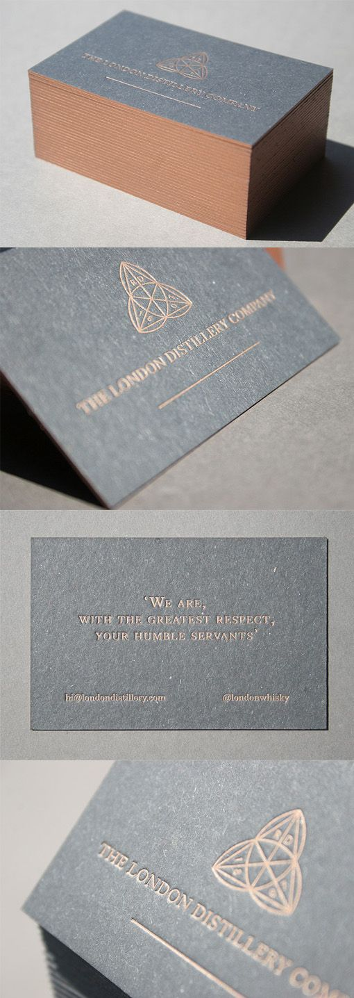 Elegant Copper Edge Painted Letterpress Business Card Design