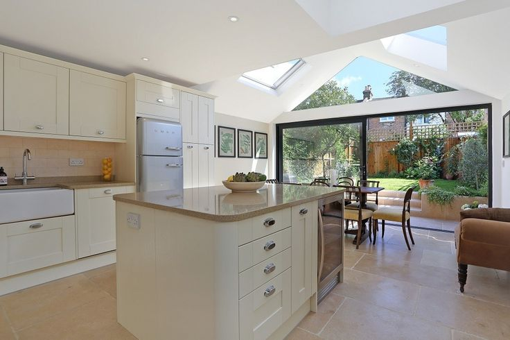 The gable roof design vaults the ceiling giving an impressive sense of space and openness.
