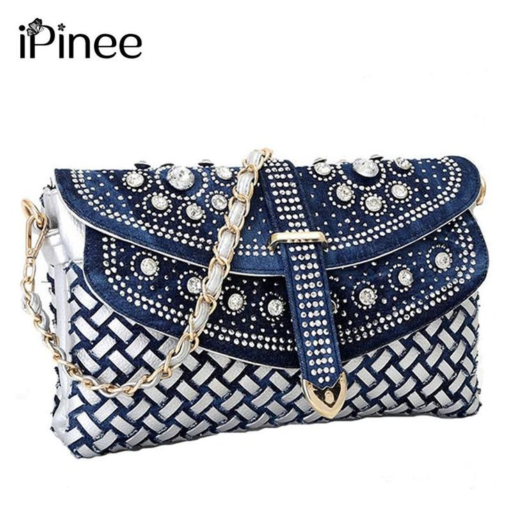 Denim bling,diamond, sequenced &weave pattern bag $ 48.99 free shipping