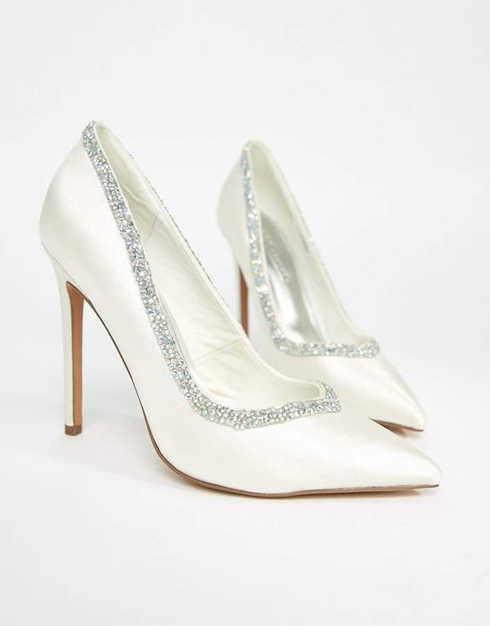 ae87c1f7c18426 ASOS DESIGN ASOS PHOENIX Bridal High Heels - Embellished sparkly ivory  wedding pumps