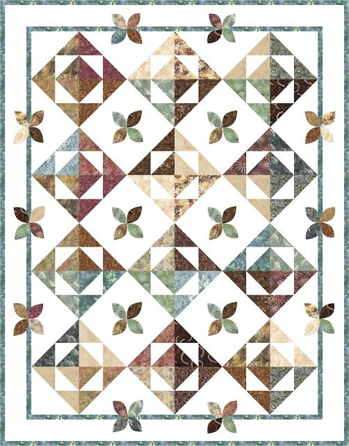 """Free quilt pattern! Simple 10"""" quilt blocks with half square triangles, rich batik fabrics by Timeless Treasures, and quick machine applique leaves. Pieced Brain: New quilt patterns"""