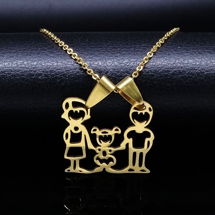 Mama Girls Stainless Steel Statement Necklace Silver Gold Plated Family Necklace & pendants Women Kids Jewelry gargantilla N6811