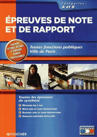Epreuves de note et de rapport - Toutes fonctions publiques, Catégories A et B Brigitte Le Page