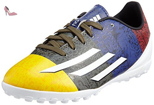 F10 TF Messi Enfants - Chaussures de Foot Or Solaire/Blanc/Vert Terre - taille 2 - Chaussures adidas (*Partner-Link)