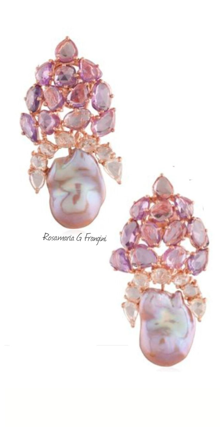 My Pink Jewellery  Tjs  Pears And Pink Sapphires Earrings