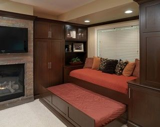 Idea to have trundle bed under built in window seat. Basement Entertaining - modern - basement - columbus - by Finish Line Building