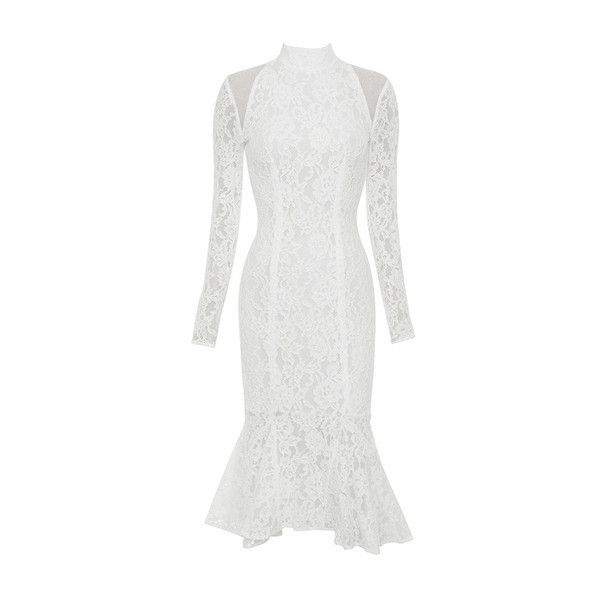 'Jorani' White Lace Long Sleeved Dress ❤ liked on Polyvore featuring dresses, long sleeve bodycon dress, white body con dress, body con dress, long sleeve body con dress and long sleeve dresses