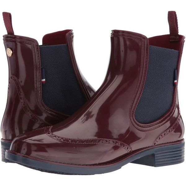 Tommy Hilfiger Pecan (Burgundy) Women's Shoes ($40) ❤ liked on Polyvore featuring shoes, burgundy, slip on rain boots, tommy hilfiger, wellies shoes, rubber boots and short heel shoes