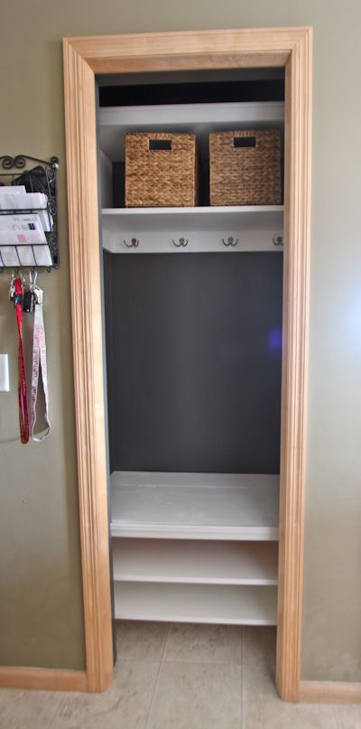 Through the Front Door: entry closet remodel. Really need to do something like this. Our closet is small and messy! Something like this would be nice.