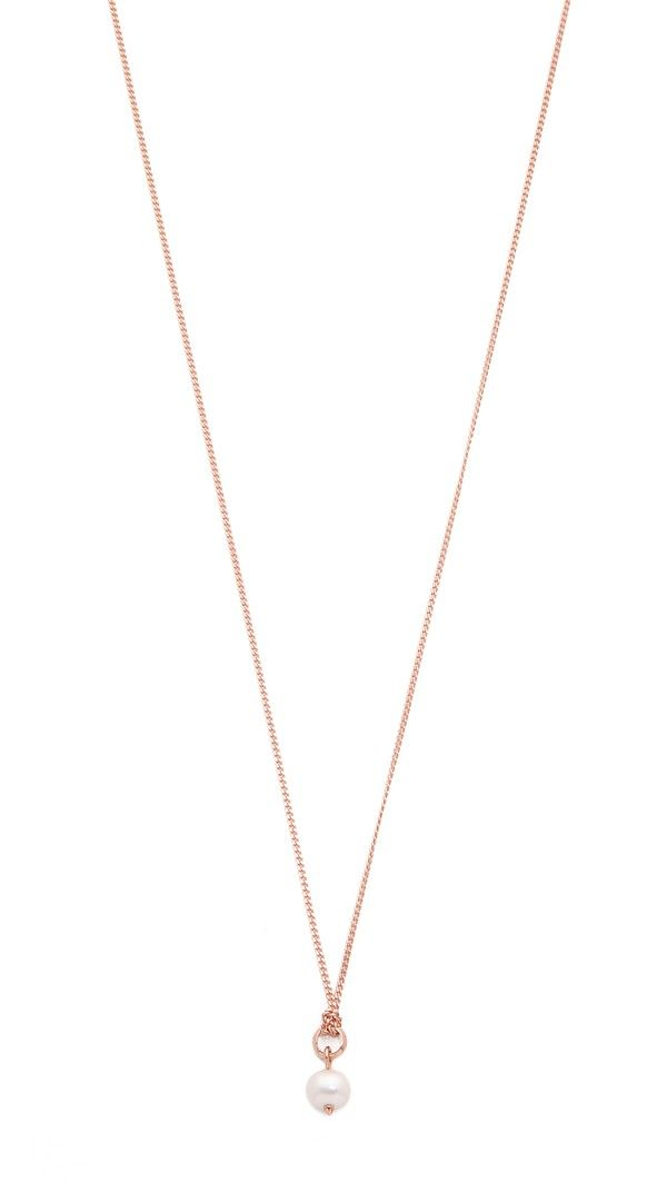 Katie Rowland Irina Mini Pendant Necklace - Pearl/Rose Gold