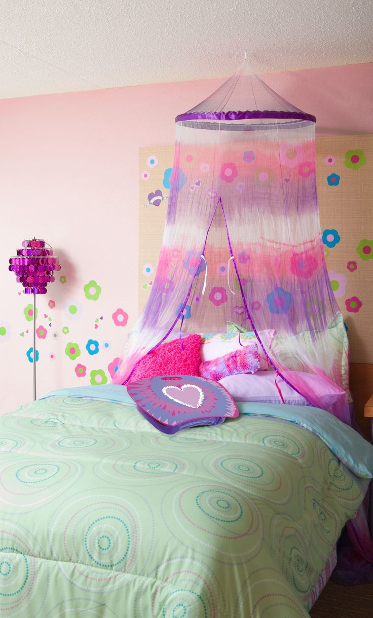 Canopy bed for teenage girls - Purple And Pink Tie Dye Bed Canopy For Girls Purple Bedroom Ideas