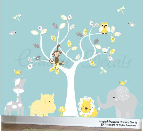 Gender Neutral Decal Childrens Wall Decals Jungle Animals Vinyl - Kids wall decals jungle