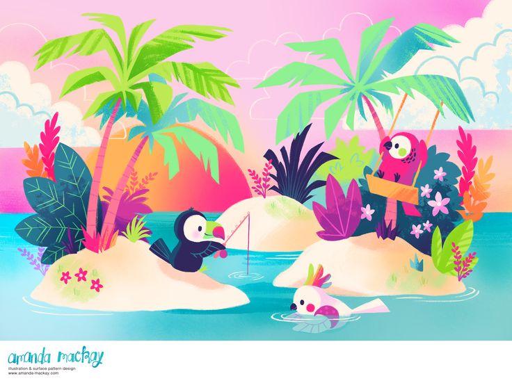 Fun Tropical Vacation - by Amanda MacKay Illustration