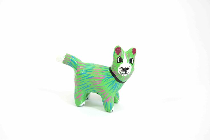 Papier-Mache Cat (Small): This handcrafted paper-mache cat was made using recycled newspaper.  Each one is hand painted making them all unique and individual.  It is sure to add colour and happiness to the room.