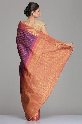Purple Kanjivaram Silk Saree With All-Over Circular Motifs And Pink & Orange Dual-Shaded Border & Pallu With Half-Fine Gold Zari Checkered Pattern