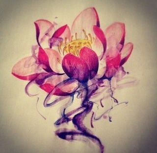 The lotus flower starts as a small flower down at the bottom of a pond in the mud and muck. It slowly grows up towards the water's surface, continually moving towards the light. Once it comes to the surface of the water, the lotus flower begins to blossom and turns into a beautiful flower.