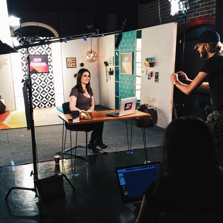 "Behind the scenes with Sophie Tweed-Simmons at the Fine Brothers Entertainment's ""Celebs React"" video shoot."