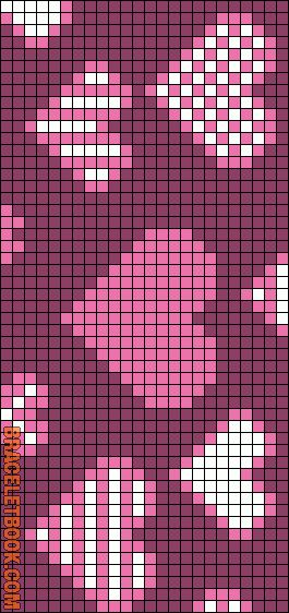 Hearts pattern / chart for cross stitch, knitting, knotting, beading, weaving, pixel art, and other crafting projects.