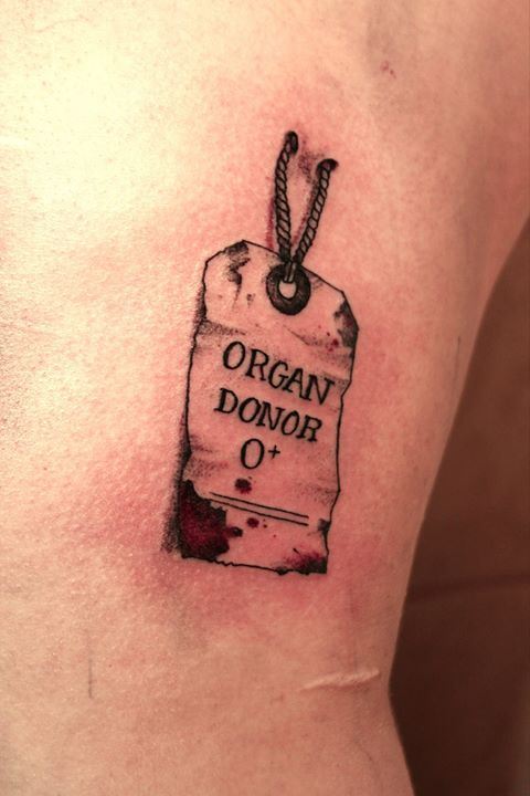 Organ donor. I usually don't like things that look like they're going through your skin, but this is sorta cool.