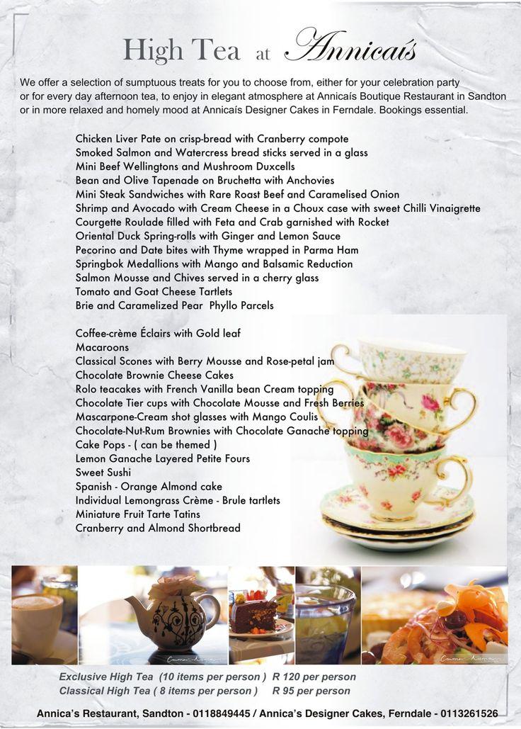 Annicas restaurant menu high tea menu let 39 s have tea for X cuisine miri menu