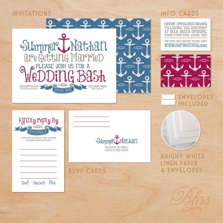 Modern Wedding Invitation Package - Nautical Theme. $3.00, via Etsy.  CUTE ENVELOPES!