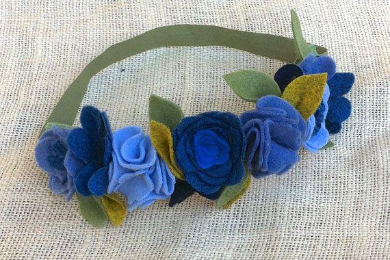 Felt Flower Crown // Blues by fancyfreefinery on Etsy, $23.50